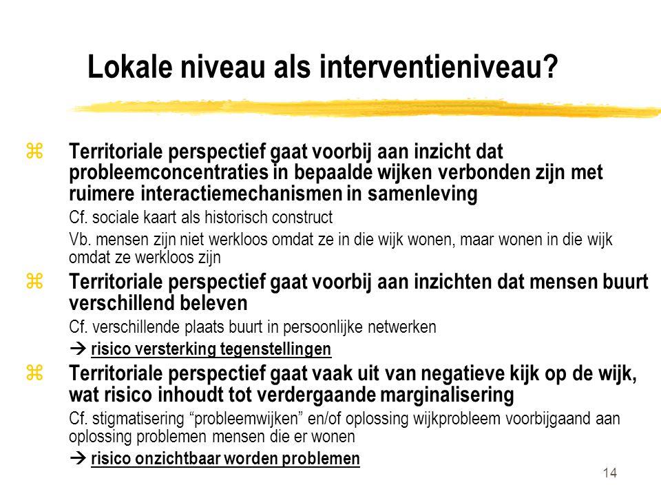 14 Lokale niveau als interventieniveau.