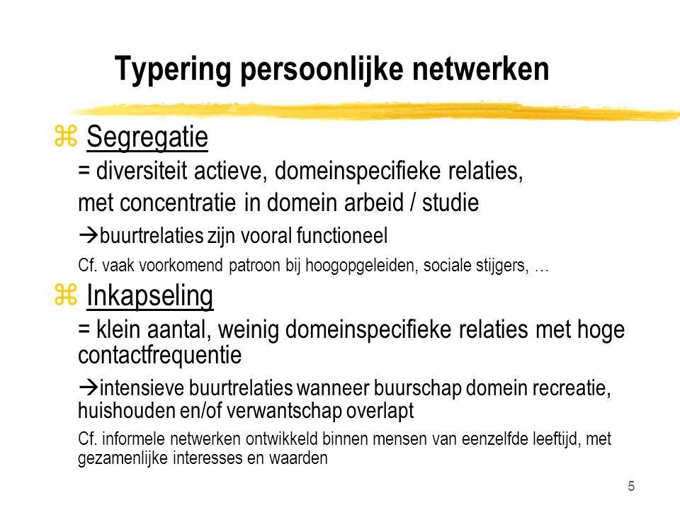 5 Typering persoonlijke netwerken z Segregatie = diversiteit actieve, domeinspecifieke relaties, met concentratie in domein arbeid / studie  buurtrelaties zijn vooral functioneel Cf.