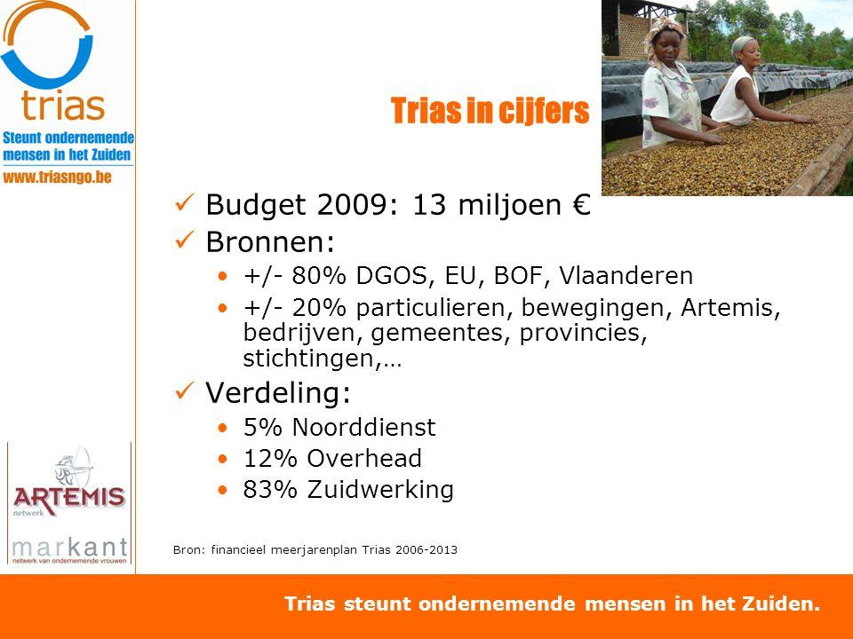 Trias steunt ondernemende mensen in het Zuiden. Trias in cijfers Budget 2009: 13 miljoen € Bronnen: +/- 80% DGOS, EU, BOF, Vlaanderen +/- 20% particul