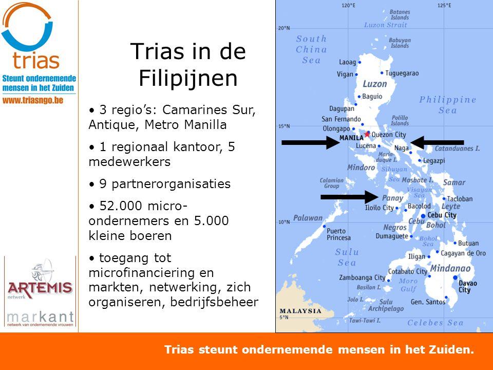 Trias steunt ondernemende mensen in het Zuiden. Trias in de Filipijnen 3 regio's: Camarines Sur, Antique, Metro Manilla 1 regionaal kantoor, 5 medewer