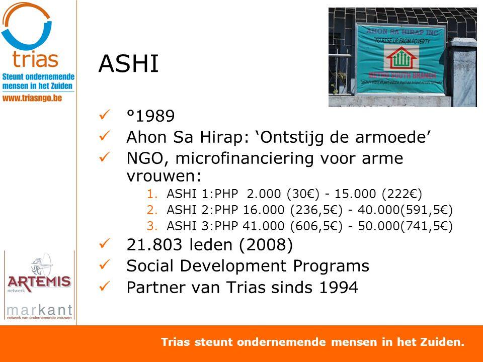 Trias steunt ondernemende mensen in het Zuiden. ASHI °1989 Ahon Sa Hirap: 'Ontstijg de armoede' NGO, microfinanciering voor arme vrouwen: 1.ASHI 1:PHP