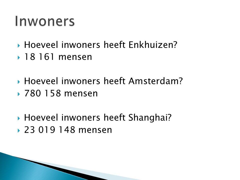  Hoeveel inwoners heeft Enkhuizen?  18 161 mensen  Hoeveel inwoners heeft Amsterdam?  780 158 mensen  Hoeveel inwoners heeft Shanghai?  23 019 1