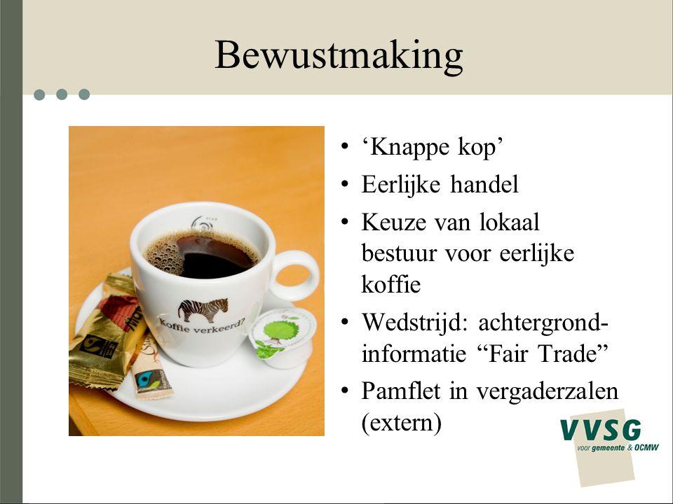 Bewustmaking 'Knappe kop' Eerlijke handel Keuze van lokaal bestuur voor eerlijke koffie Wedstrijd: achtergrond- informatie Fair Trade Pamflet in vergaderzalen (extern)