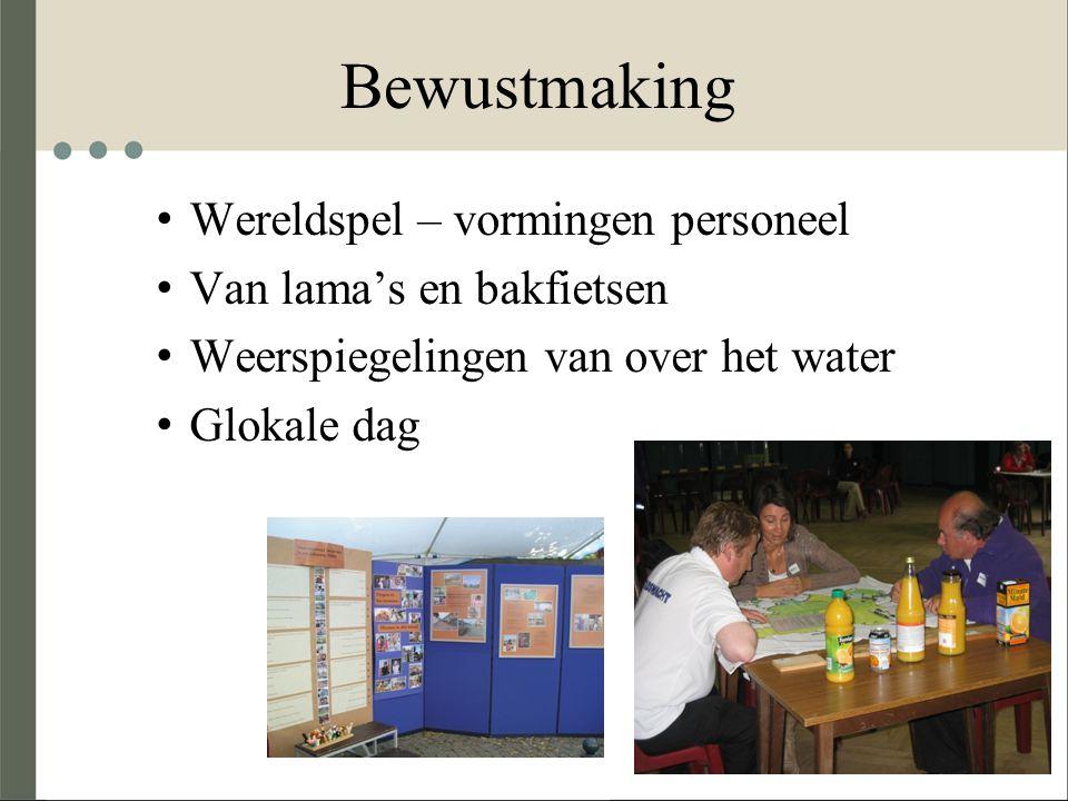 Bewustmaking Wereldspel – vormingen personeel Van lama's en bakfietsen Weerspiegelingen van over het water Glokale dag