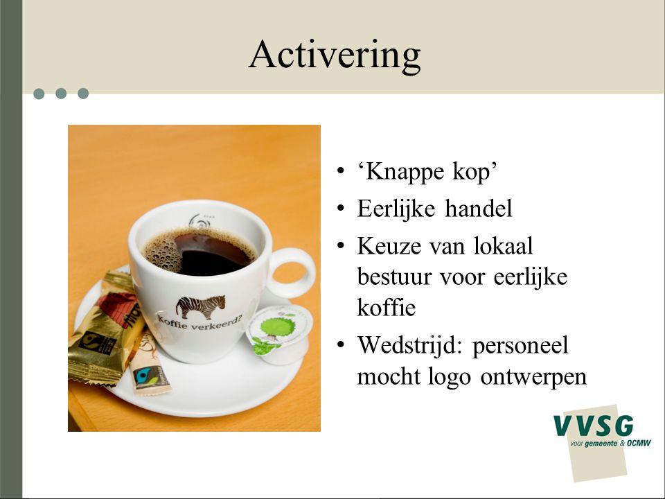 Activering 'Knappe kop' Eerlijke handel Keuze van lokaal bestuur voor eerlijke koffie Wedstrijd: personeel mocht logo ontwerpen