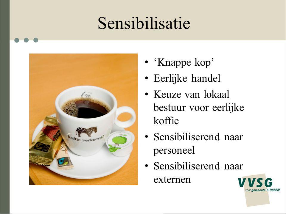 Sensibilisatie 'Knappe kop' Eerlijke handel Keuze van lokaal bestuur voor eerlijke koffie Sensibiliserend naar personeel Sensibiliserend naar externen