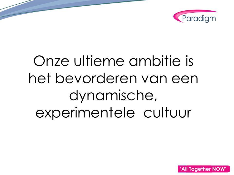 Onze ultieme ambitie is het bevorderen van een dynamische, experimentele cultuur