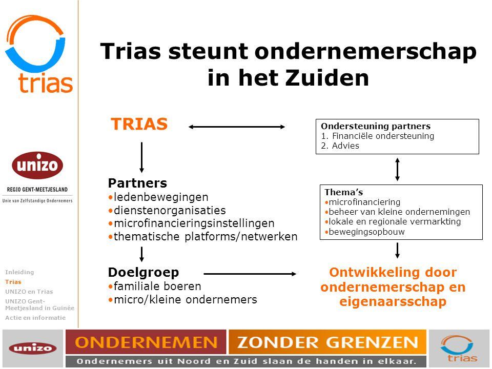 Trias steunt ondernemende mensen in het Zuiden. Trias steunt ondernemerschap in het Zuiden TRIAS Doelgroep familiale boeren micro/kleine ondernemers P