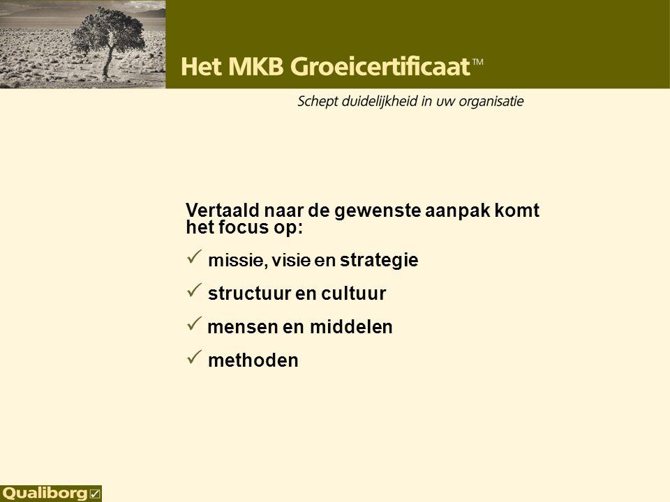 Vertaald naar de gewenste aanpak komt het focus op:  missie, visie en strategie  structuur en cultuur  mensen en middelen  methoden