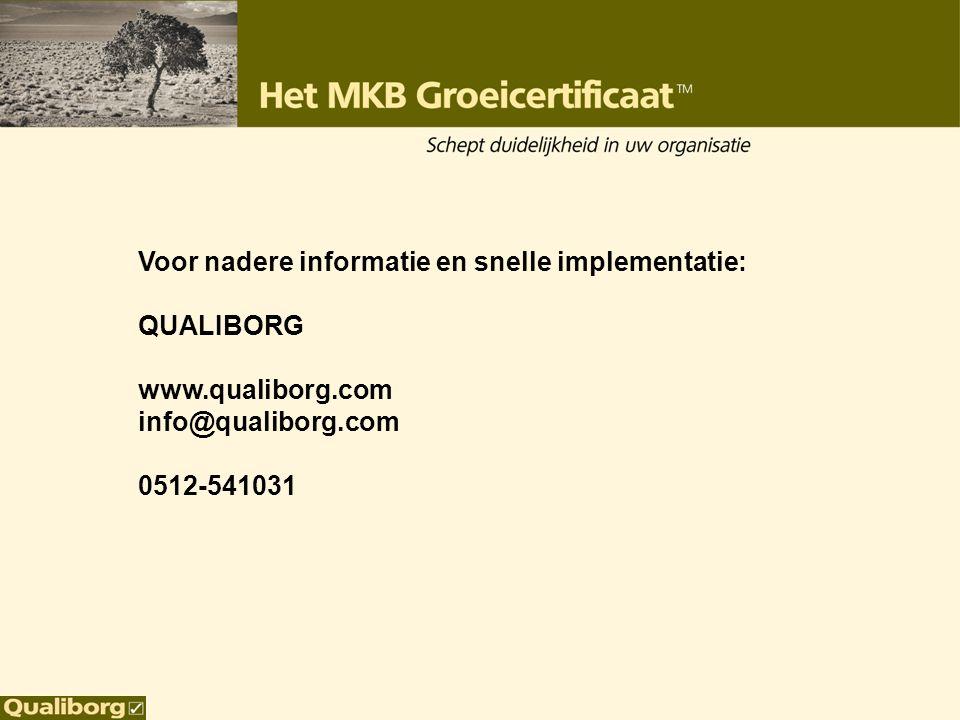 Voor nadere informatie en snelle implementatie: QUALIBORG www.qualiborg.com info@qualiborg.com 0512-541031