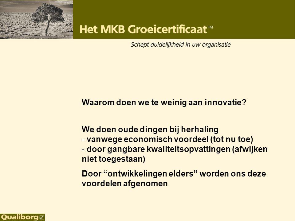 Waarom doen we te weinig aan innovatie? We doen oude dingen bij herhaling - vanwege economisch voordeel (tot nu toe) - door gangbare kwaliteitsopvatti