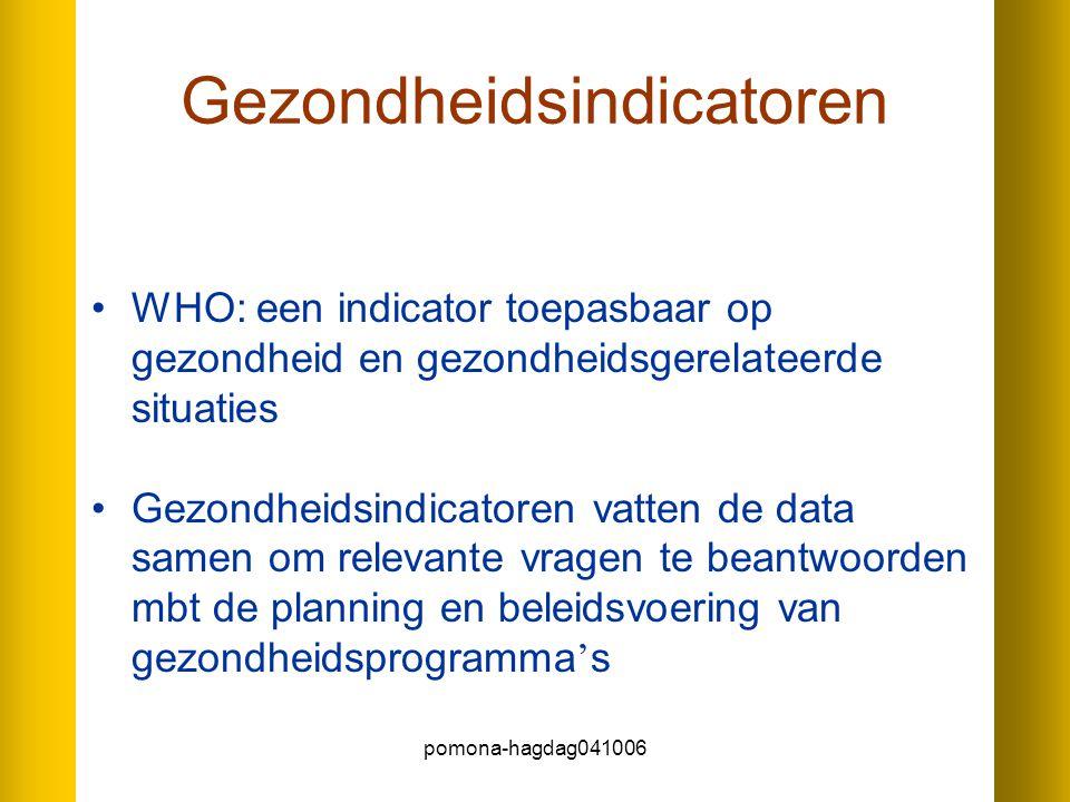 pomona-hagdag041006 Gezondheidsindicatoren WHO: een indicator toepasbaar op gezondheid en gezondheidsgerelateerde situaties Gezondheidsindicatoren vat