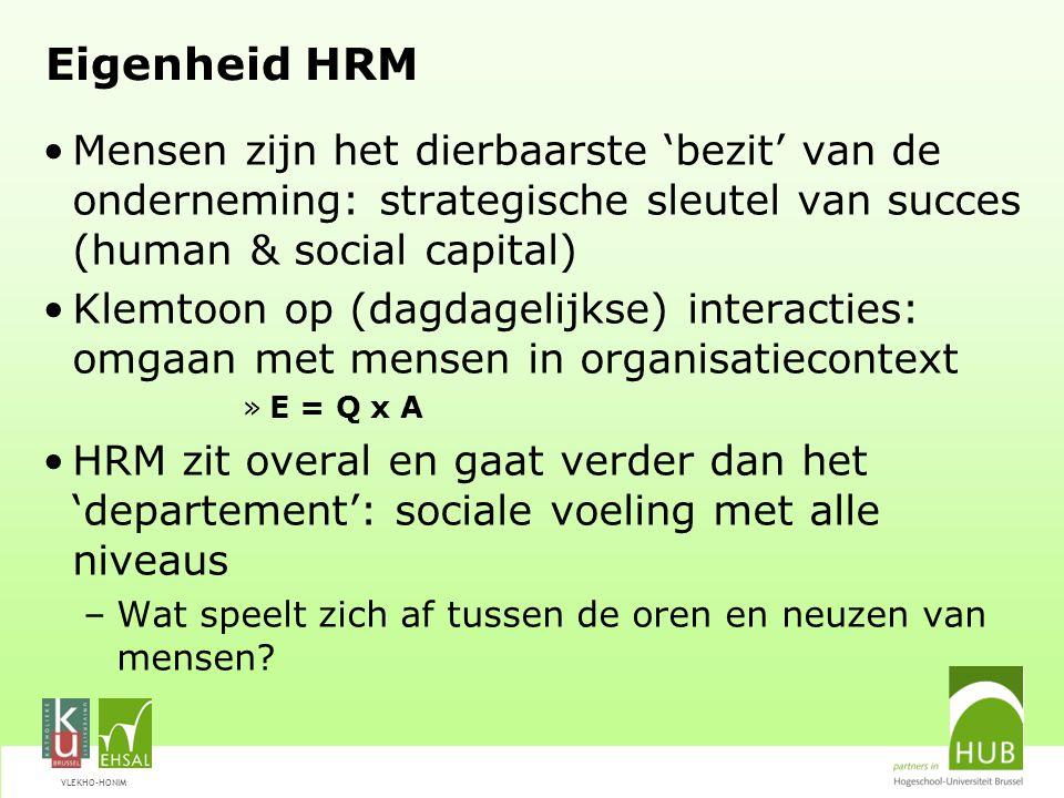 VLEKHO-HONIM Eigenheid HRM Mensen zijn het dierbaarste 'bezit' van de onderneming: strategische sleutel van succes (human & social capital) Klemtoon o