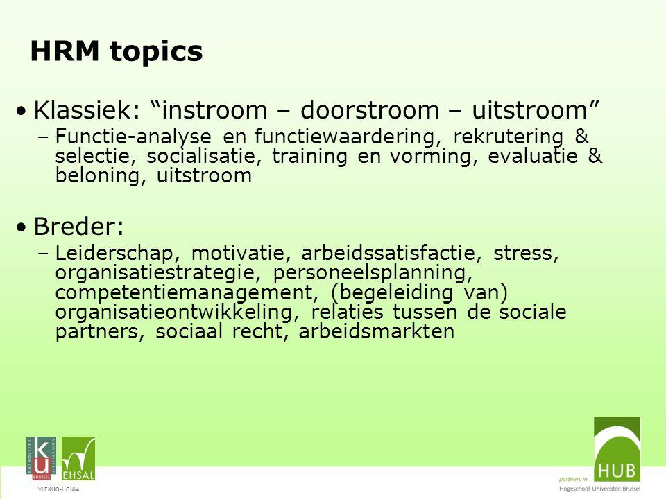 """VLEKHO-HONIM HRM topics Klassiek: """"instroom – doorstroom – uitstroom"""" –Functie-analyse en functiewaardering, rekrutering & selectie, socialisatie, tra"""
