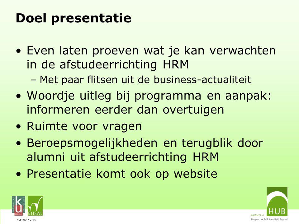 VLEKHO-HONIM Human Resource Management Wat trekt je aan in HRM.