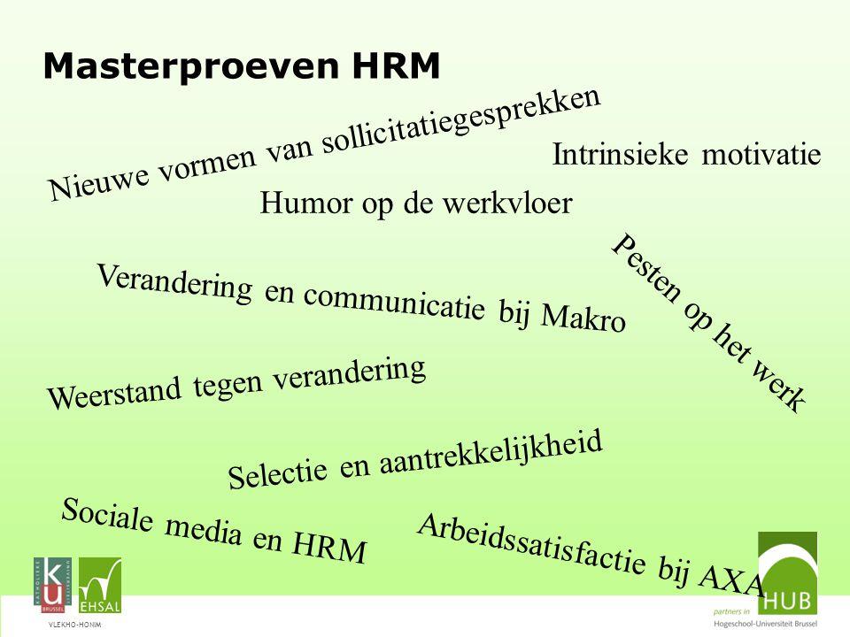 VLEKHO-HONIM Masterproeven HRM Intrinsieke motivatie Nieuwe vormen van sollicitatiegesprekken Weerstand tegen verandering Selectie en aantrekkelijkhei