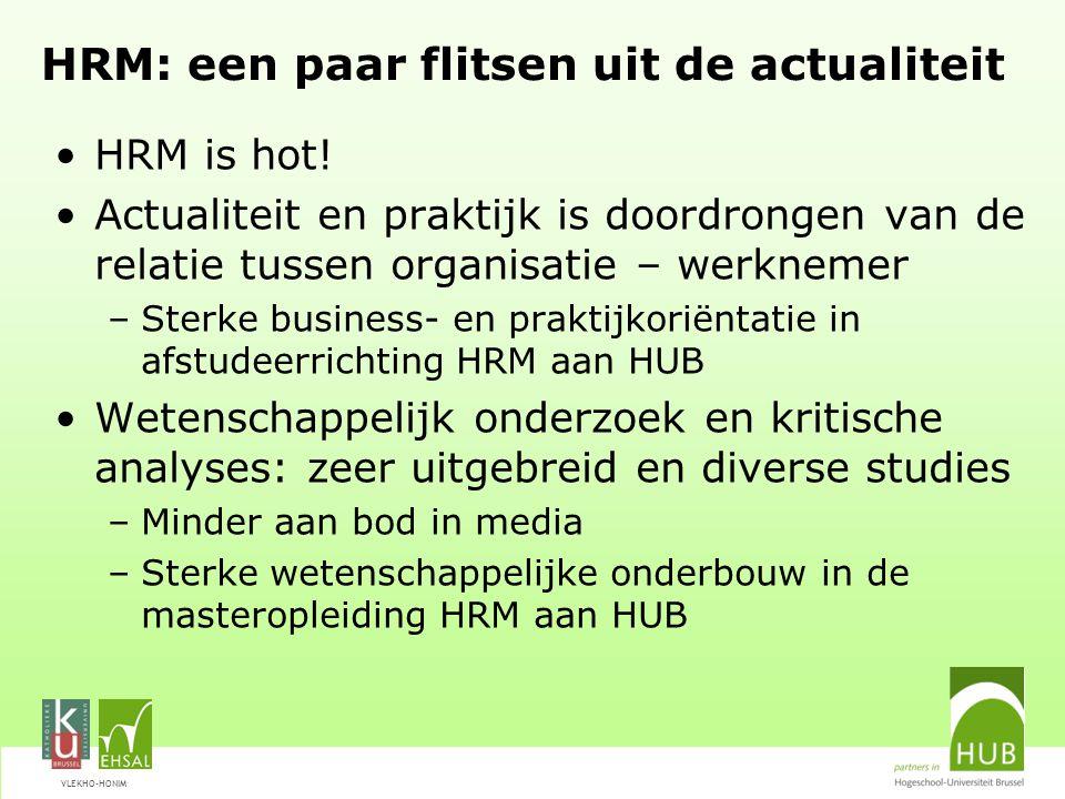 VLEKHO-HONIM HRM: een paar flitsen uit de actualiteit HRM is hot! Actualiteit en praktijk is doordrongen van de relatie tussen organisatie – werknemer