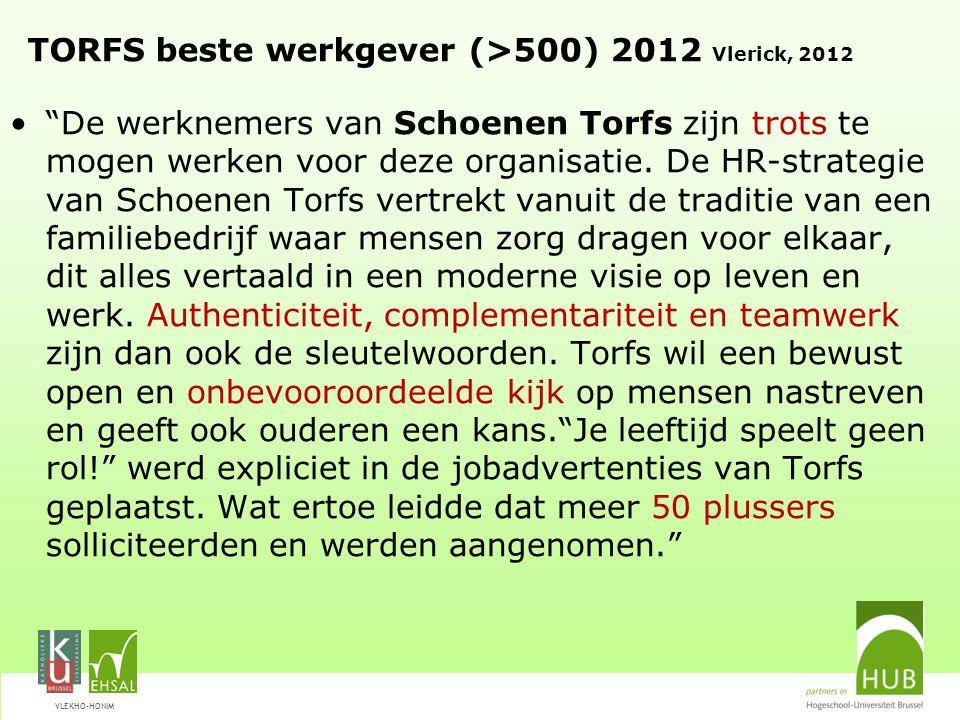 """VLEKHO-HONIM TORFS beste werkgever (>500) 2012 Vlerick, 2012 """"De werknemers van Schoenen Torfs zijn trots te mogen werken voor deze organisatie. De HR"""