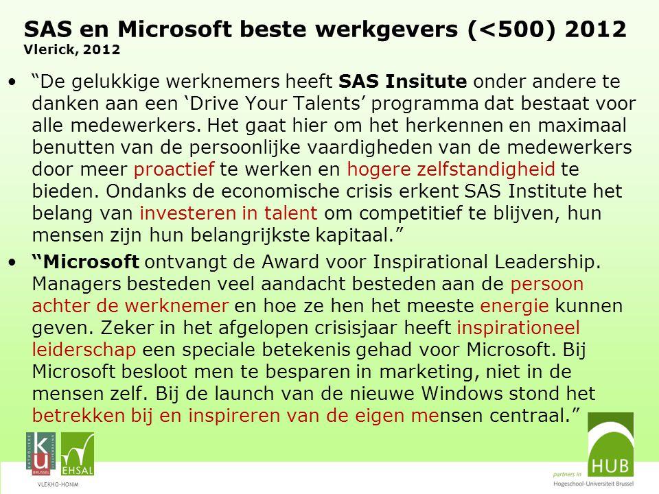 """VLEKHO-HONIM SAS en Microsoft beste werkgevers (<500) 2012 Vlerick, 2012 """"De gelukkige werknemers heeft SAS Insitute onder andere te danken aan een 'D"""
