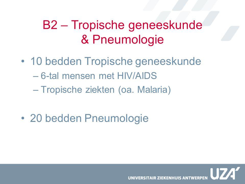 B2 – Tropische geneeskunde & Pneumologie 10 bedden Tropische geneeskunde –6-tal mensen met HIV/AIDS –Tropische ziekten (oa. Malaria) 20 bedden Pneumol