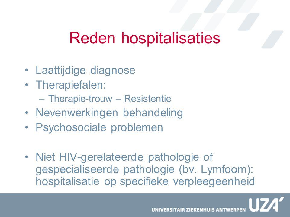 Reden hospitalisaties Laattijdige diagnose Therapiefalen: –Therapie-trouw – Resistentie Nevenwerkingen behandeling Psychosociale problemen Niet HIV-ge