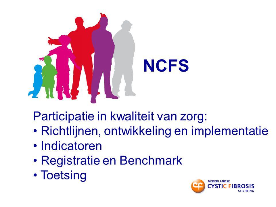 NCFS Participatie in kwaliteit van zorg: Richtlijnen, ontwikkeling en implementatie Indicatoren Registratie en Benchmark Toetsing