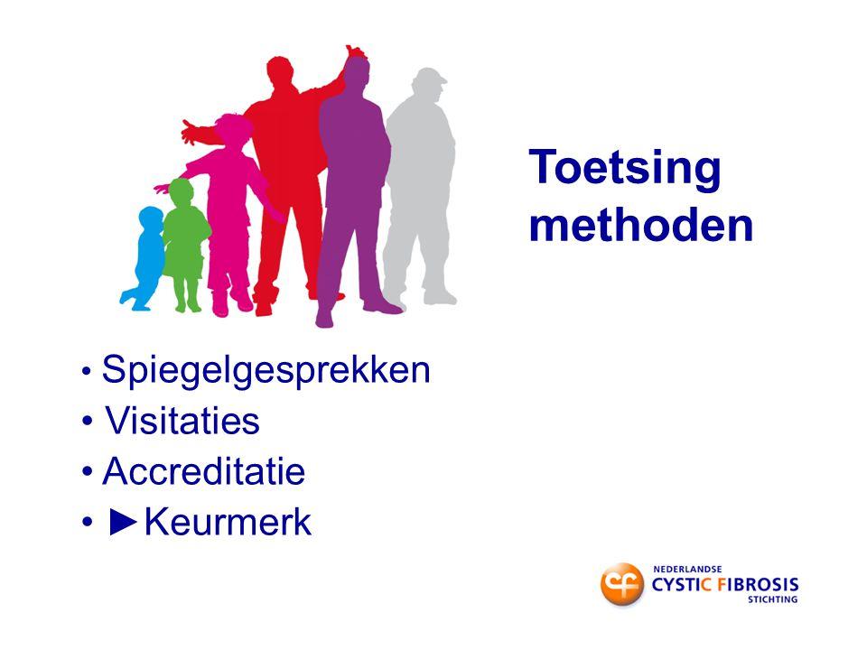 Toetsing methoden Spiegelgesprekken Visitaties Accreditatie ►Keurmerk