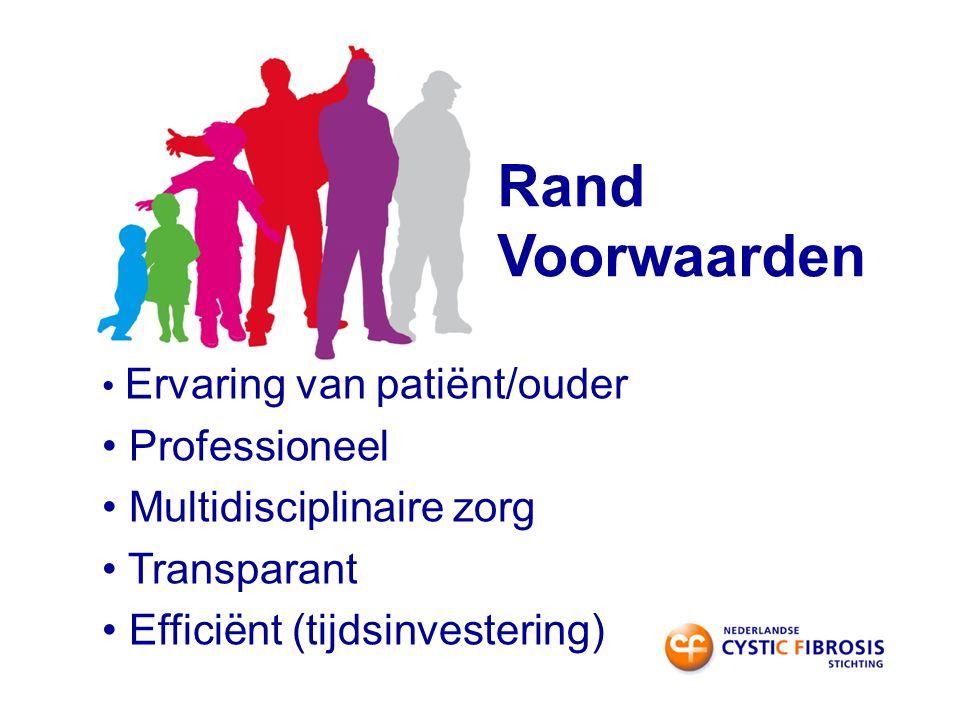 Rand Voorwaarden Ervaring van patiënt/ouder Professioneel Multidisciplinaire zorg Transparant Efficiënt (tijdsinvestering)