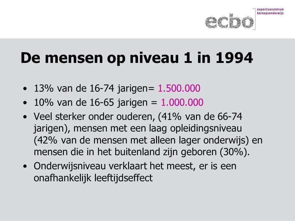 De mensen op niveau 1 in 1994 13% van de 16-74 jarigen= 1.500.000 10% van de 16-65 jarigen = 1.000.000 Veel sterker onder ouderen, (41% van de 66-74 jarigen), mensen met een laag opleidingsniveau (42% van de mensen met alleen lager onderwijs) en mensen die in het buitenland zijn geboren (30%).