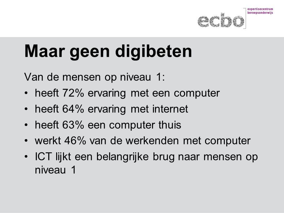 Maar geen digibeten Van de mensen op niveau 1: heeft 72% ervaring met een computer heeft 64% ervaring met internet heeft 63% een computer thuis werkt 46% van de werkenden met computer ICT lijkt een belangrijke brug naar mensen op niveau 1