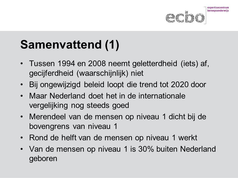 Samenvattend (1) Tussen 1994 en 2008 neemt geletterdheid (iets) af, gecijferdheid (waarschijnlijk) niet Bij ongewijzigd beleid loopt die trend tot 2020 door Maar Nederland doet het in de internationale vergelijking nog steeds goed Merendeel van de mensen op niveau 1 dicht bij de bovengrens van niveau 1 Rond de helft van de mensen op niveau 1 werkt Van de mensen op niveau 1 is 30% buiten Nederland geboren