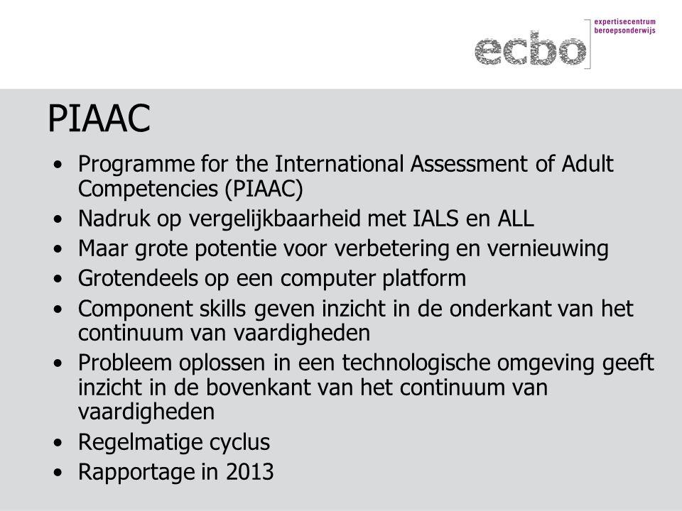 PIAAC Programme for the International Assessment of Adult Competencies (PIAAC) Nadruk op vergelijkbaarheid met IALS en ALL Maar grote potentie voor verbetering en vernieuwing Grotendeels op een computer platform Component skills geven inzicht in de onderkant van het continuum van vaardigheden Probleem oplossen in een technologische omgeving geeft inzicht in de bovenkant van het continuum van vaardigheden Regelmatige cyclus Rapportage in 2013