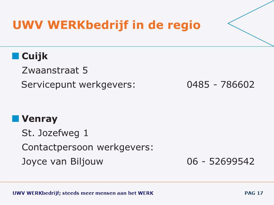 UWV WERKbedrijf; steeds meer mensen aan het WERK PAG 17 UWV WERKbedrijf in de regio Cuijk Zwaanstraat 5 Servicepuntwerkgevers: 0485 - 786602 Venray St.