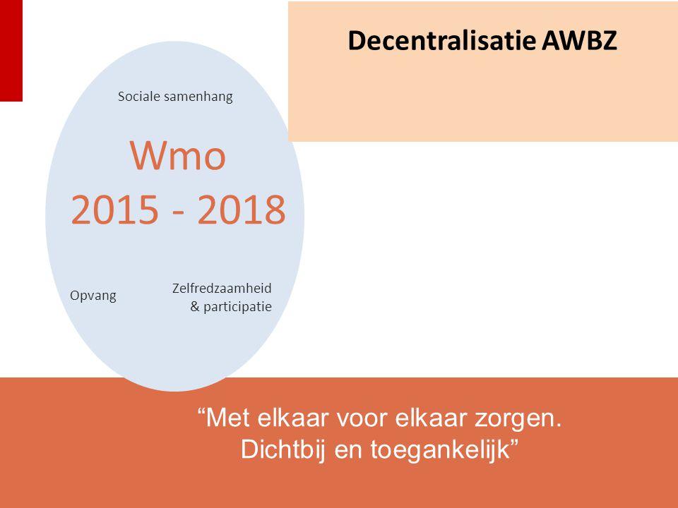 """Wmo 2015 - 2018 Sociale samenhang Zelfredzaamheid & participatie Opvang """"Met elkaar voor elkaar zorgen. Dichtbij en toegankelijk"""" Decentralisatie AWBZ"""