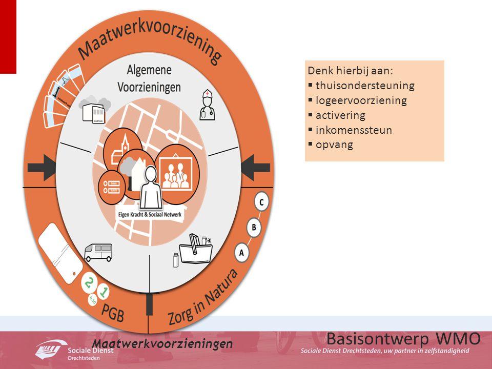 Basisontwerp WMO Maatwerkvoorzieningen Denk hierbij aan:  thuisondersteuning  logeervoorziening  activering  inkomenssteun  opvang