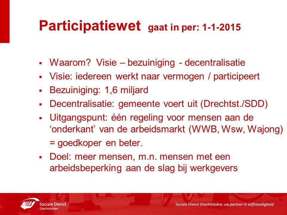 Participatiewet gaat in per: 1-1-2015  Waarom? Visie – bezuiniging - decentralisatie  Visie: iedereen werkt naar vermogen / participeert  Bezuinigi