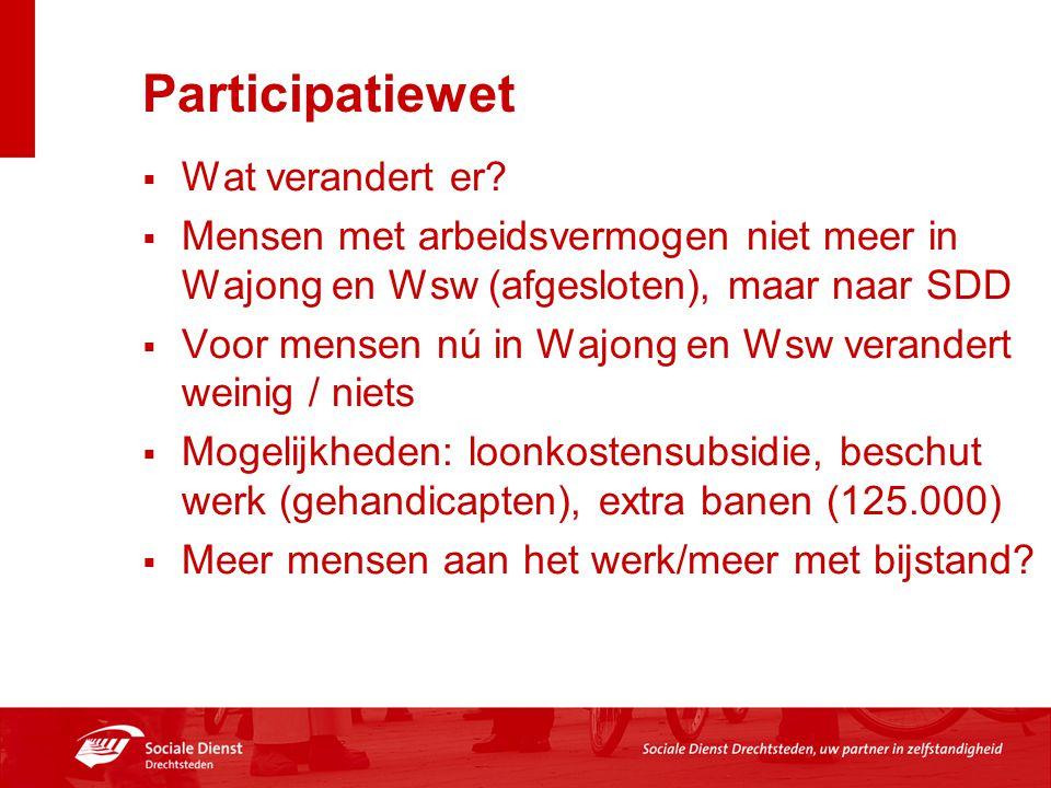 Participatiewet  Wat verandert er?  Mensen met arbeidsvermogen niet meer in Wajong en Wsw (afgesloten), maar naar SDD  Voor mensen nú in Wajong en