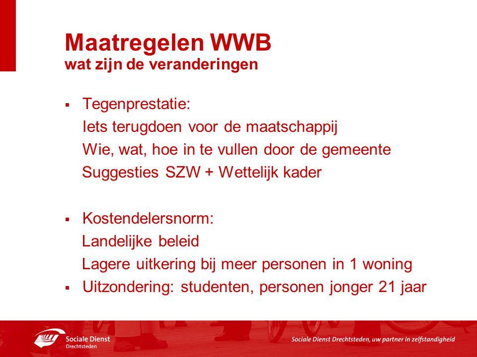 Maatregelen WWB wat zijn de veranderingen  Tegenprestatie: Iets terugdoen voor de maatschappij Wie, wat, hoe in te vullen door de gemeente Suggesties