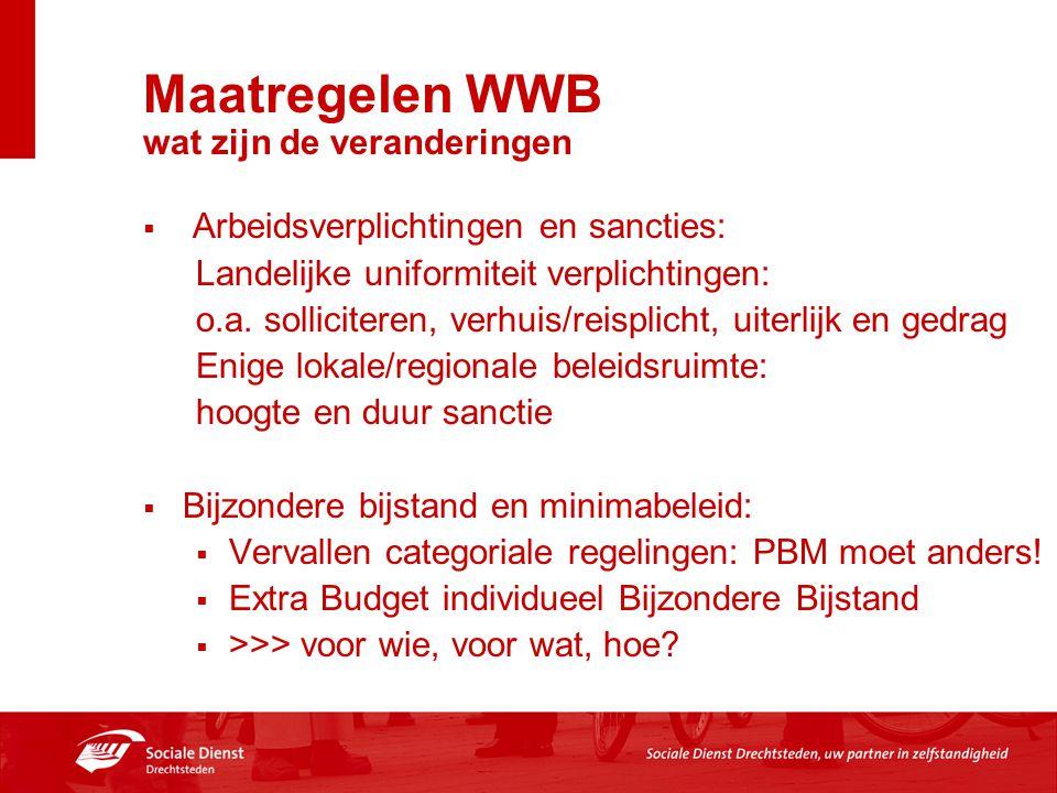 Maatregelen WWB wat zijn de veranderingen  Arbeidsverplichtingen en sancties: Landelijke uniformiteit verplichtingen: o.a. solliciteren, verhuis/reis