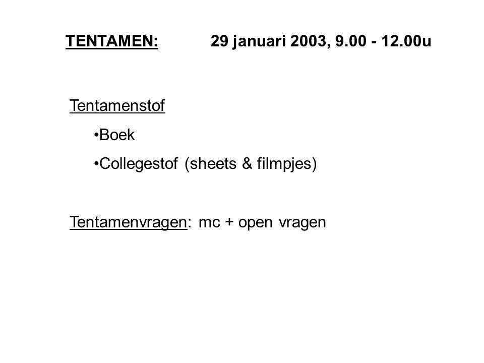 TENTAMEN: 29 januari 2003, 9.00 - 12.00u Tentamenstof Boek Collegestof (sheets & filmpjes) Tentamenvragen: mc + open vragen