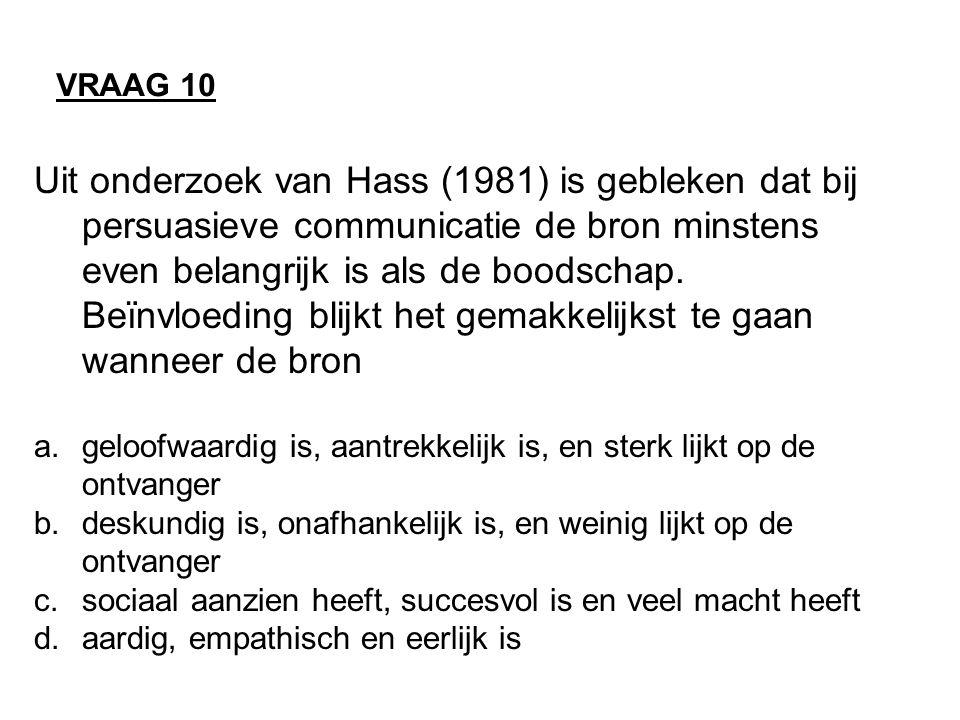 Uit onderzoek van Hass (1981) is gebleken dat bij persuasieve communicatie de bron minstens even belangrijk is als de boodschap.
