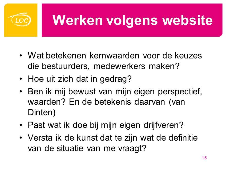 Werken volgens website Wat betekenen kernwaarden voor de keuzes die bestuurders, medewerkers maken.
