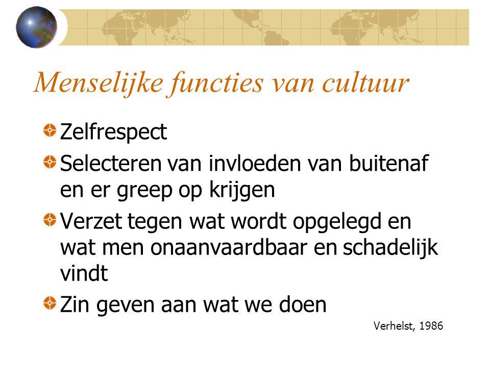 Menselijke functies van cultuur Zelfrespect Selecteren van invloeden van buitenaf en er greep op krijgen Verzet tegen wat wordt opgelegd en wat men on