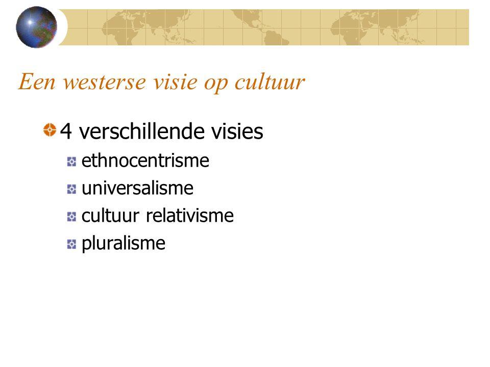 Een westerse visie op cultuur 4 verschillende visies ethnocentrisme universalisme cultuur relativisme pluralisme