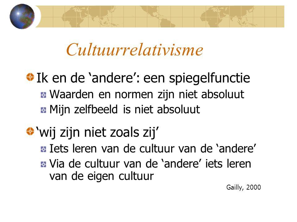 Cultuurrelativisme Ik en de 'andere': een spiegelfunctie Waarden en normen zijn niet absoluut Mijn zelfbeeld is niet absoluut 'wij zijn niet zoals zij' Iets leren van de cultuur van de 'andere' Via de cultuur van de 'andere' iets leren van de eigen cultuur Gailly, 2000