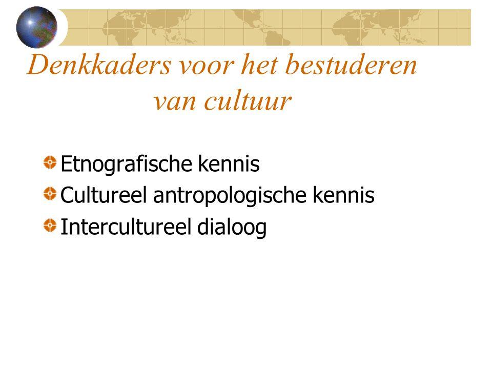 Denkkaders voor het bestuderen van cultuur Etnografische kennis Cultureel antropologische kennis Intercultureel dialoog