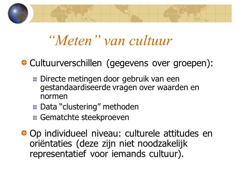 Meten van cultuur Cultuurverschillen (gegevens over groepen): Directe metingen door gebruik van een gestandaardiseerde vragen over waarden en normen Data clustering methoden Gematchte steekproeven Op individueel niveau: culturele attitudes en oriëntaties (deze zijn niet noodzakelijk representatief voor iemands cultuur).