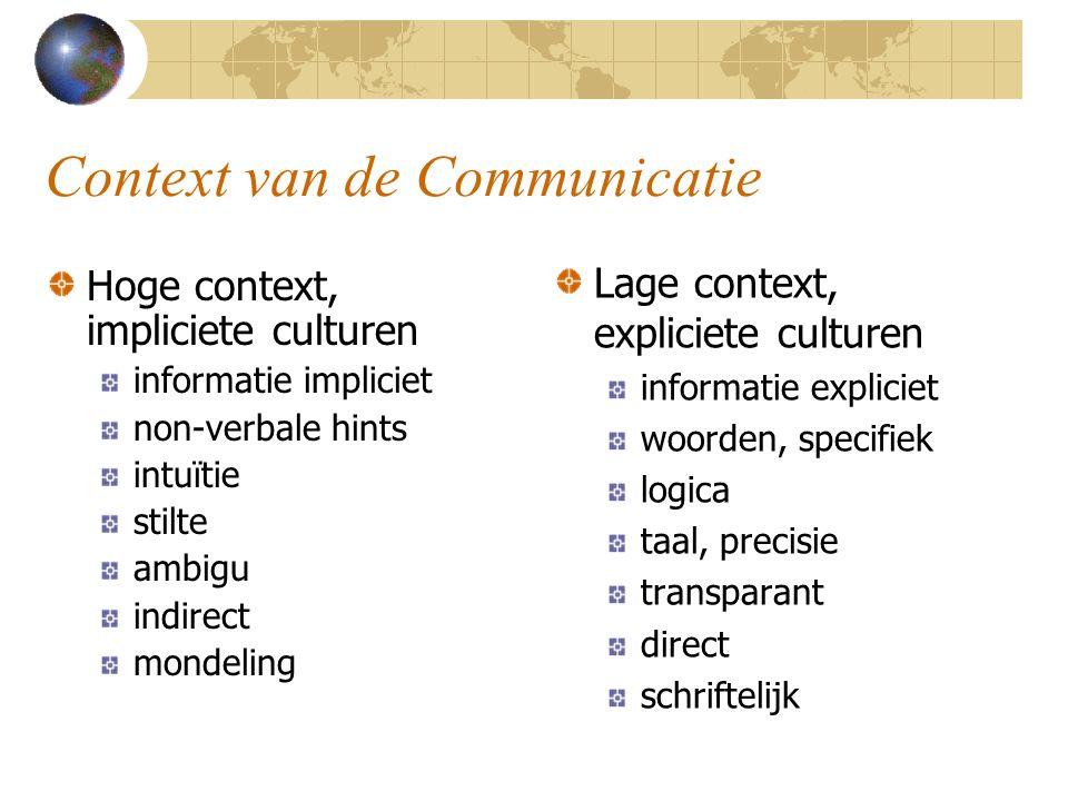 Context van de Communicatie Hoge context, impliciete culturen informatie impliciet non-verbale hints intuïtie stilte ambigu indirect mondeling Lage co