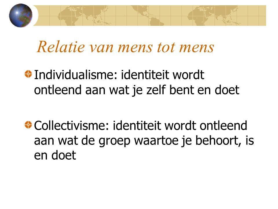 Relatie van mens tot mens Individualisme: identiteit wordt ontleend aan wat je zelf bent en doet Collectivisme: identiteit wordt ontleend aan wat de g