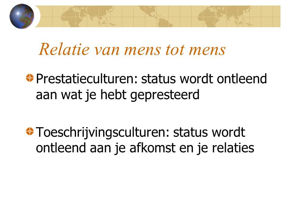Relatie van mens tot mens Prestatieculturen: status wordt ontleend aan wat je hebt gepresteerd Toeschrijvingsculturen: status wordt ontleend aan je afkomst en je relaties